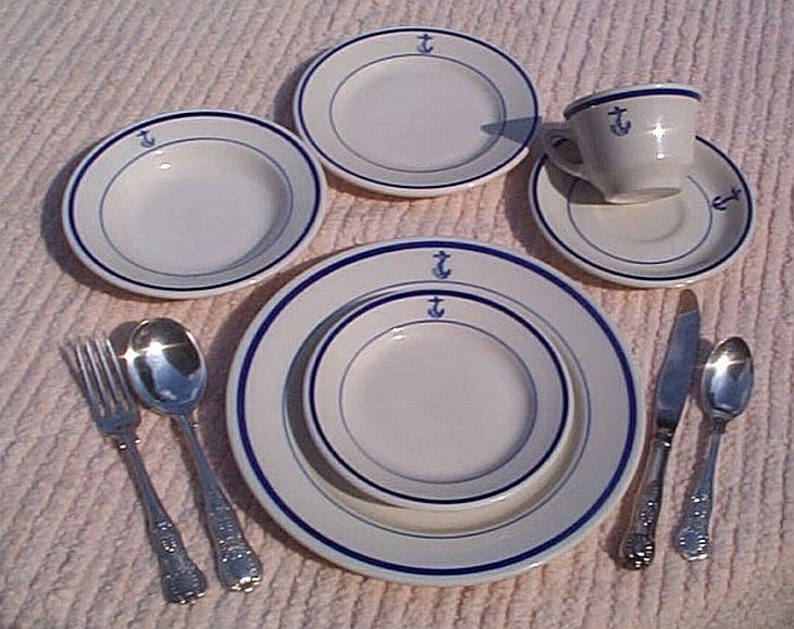 10 piece placesetting of china and silverware usn anchor