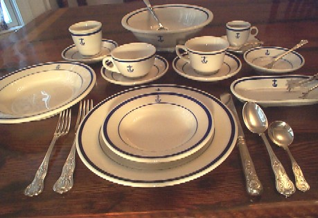 China and Silverware w Fouled Anchor for Wardroom Officers Mess