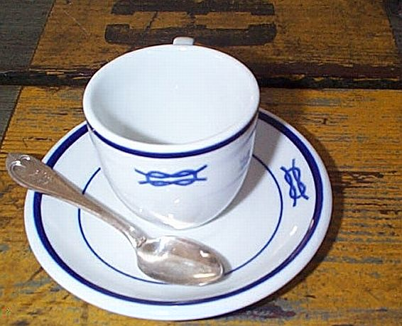 3 Piece Demitasse Coffee Cup, Saucer,Spoon Set, US Navy Junior Officers Mess w Squareknot