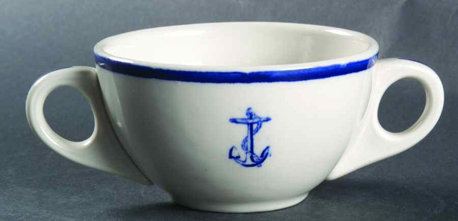 bouillon or broth cup, double handles, wardroom officer anchor